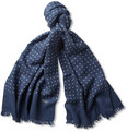Drake's - Spot-Print Wool and Silk-Blend Scarf