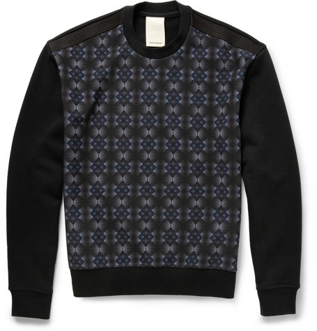 Wooyoungmi Printed Neoprene and Loopback Cotton-Blend Sweatshirt