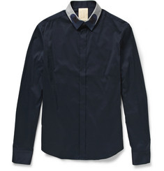 Wooyoungmi Contrast-Collar Cotton-Blend Shirt