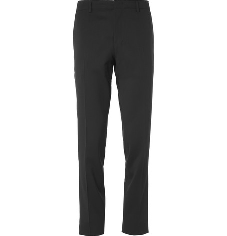 Wooyoungmi Black Slim-Fit Wool-Blend Suit Trousers
