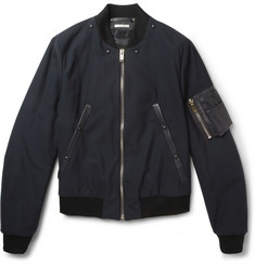 Paul Smith Leather-Trimmed Wool-Blend Bomber Jacket