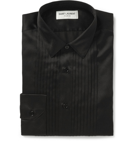 Saint Laurent Bib-Front Silk and Cotton-Blend Tuxedo Shirt