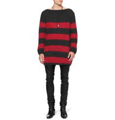 Saint Laurent Oversized Striped Mohair-Blend Sweater