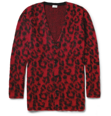 Saint Laurent Leopard-Patterned Oversized Knitted Cardigan