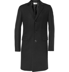 Saint Laurent Slim-Fit Velvet-Collar Wool Coat