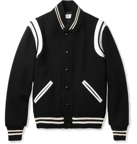 Saint Laurent Leather-Trimmed Wool-Blend Varsity Jacket