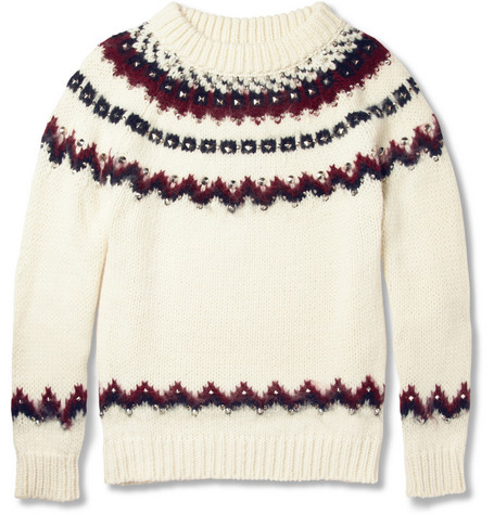 Saint Laurent Metal-Studded Fair Isle Knitted Sweater
