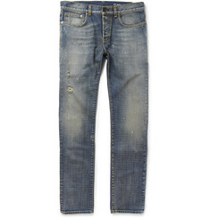 Saint Laurent Slim-Fit 17.5 Hem Distressed Denim Jeans