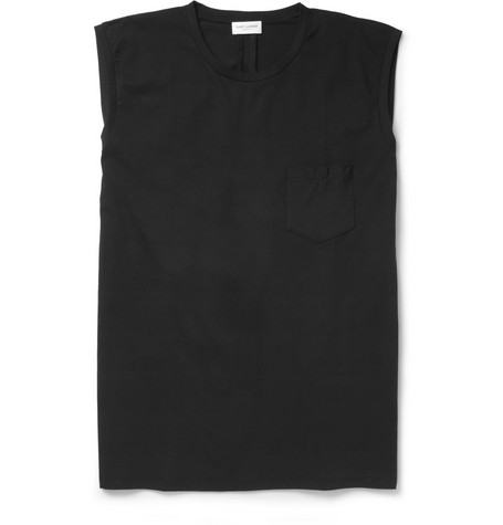Saint Laurent Sleeveless Cotton-Jersey T-Shirt