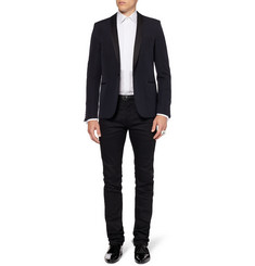 Saint Laurent White Bib-Front Cotton Tuxedo Shirt