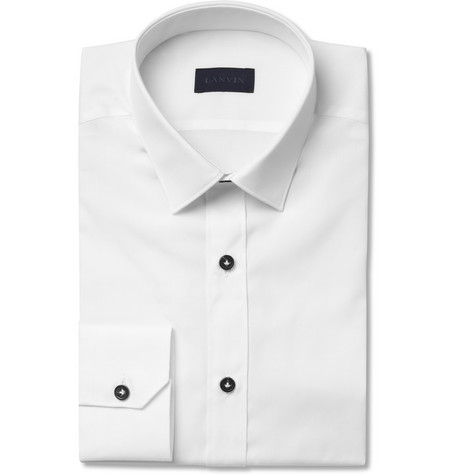 Lanvin White Slim-Fit Cotton Tuxedo Shirt