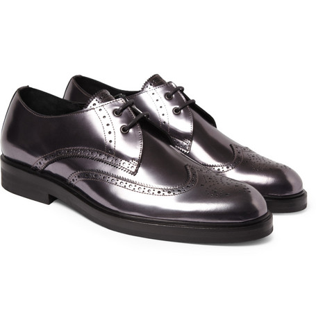 Pierre Hardy Metallic-Leather Brogues