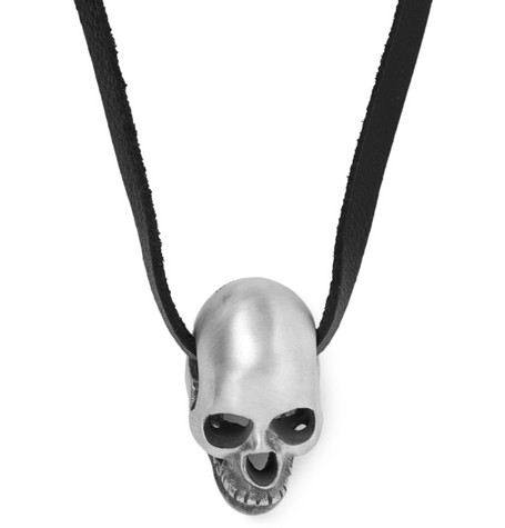 Saint Laurent Silver Skull and Leather Necklace