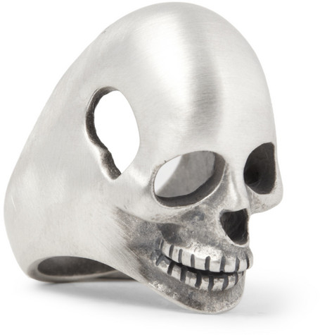 Saint Laurent Sterling Silver Skull Ring