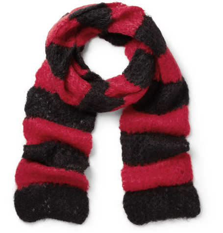 Saint Laurent Striped Open-Knit Mohair-Blend Scarf