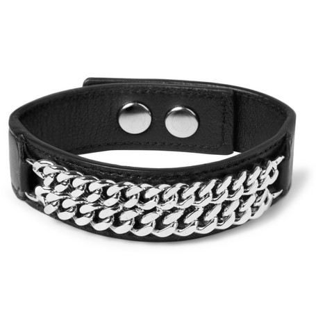 Saint Laurent Leather and Metal-Chain Cuff