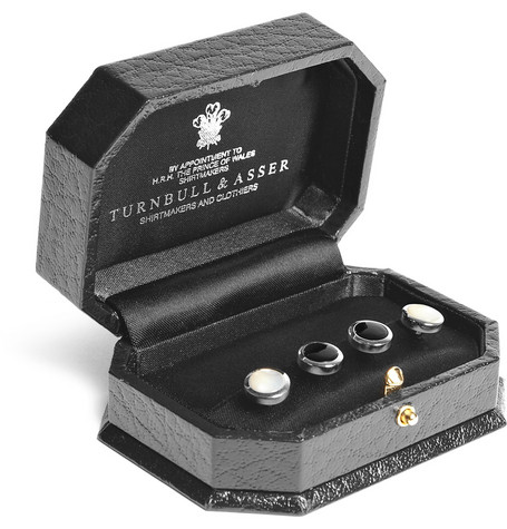Silver Tone, Pearl And Onyx Shirt Studs by Turnbull &Amp; Asser