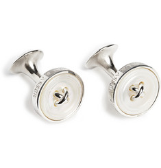 Turnbull & Asser Sterling-Silver and Mother-Of-Pearl Button Cufflinks