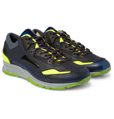 Lanvin Neon-Trimmed Metallic-Leather Sneakers