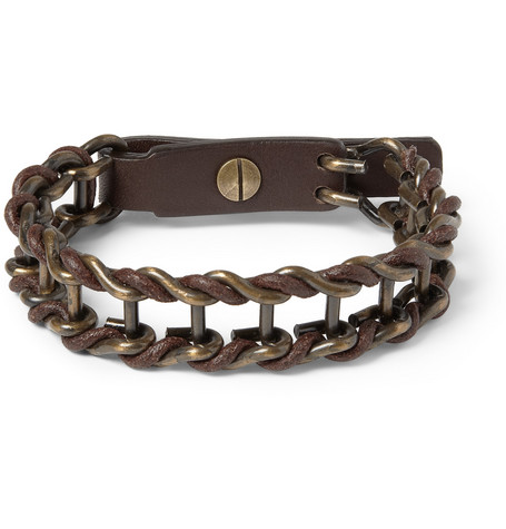 Lanvin Leather and Burnished-Metal Bracelet