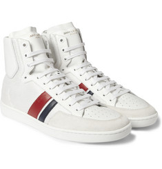 Saint Laurent SL04H Leather and Mesh High Top Sneakers