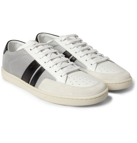Saint Laurent SL04H Leather and Mesh Sneakers
