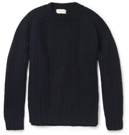 Marni Boxy Ribbed-Knit Wool Sweater