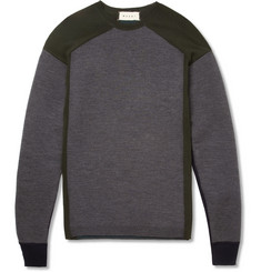 Marni Bonded and Fine-Knit Panelled Wool-Blend Sweater