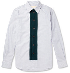 Marni Striped Cotton and Knitted-Wool Shirt