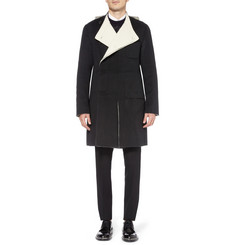 Raf Simons Collarless Double-Breasted Wool Coat