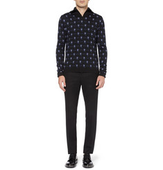 Raf Simons Patterned Zip-Collar Merino Wool Sweater