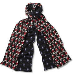 Raf Simons Patterned Merino Wool Split Scarf