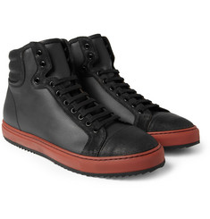 Armando Cabral Fernando Burnished-Suede and Coated-Twill High Top Sneakers