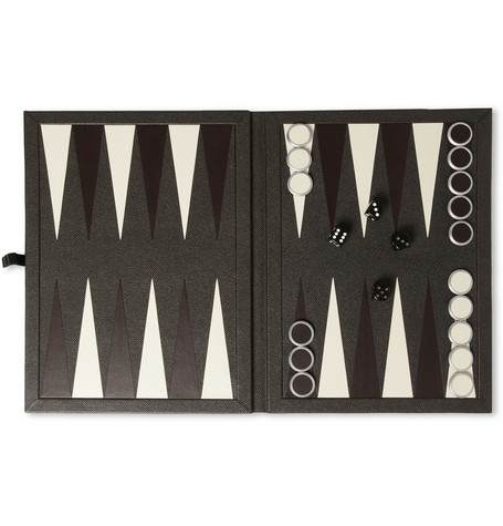 Alfred Dunhill Bourdon Leather-Bound Backgammon Set