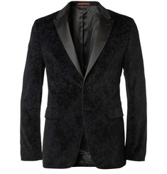 PS by Paul Smith Slim-Fit Printed-Velvet Tuxedo Blazer