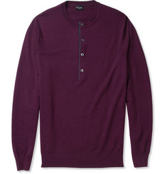 PS by Paul Smith Merino Wool Buttoned Crew Neck Sweater