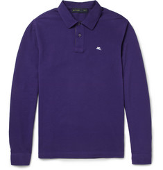 Etro Long-Sleeved Cotton-Piqué Polo Shirt