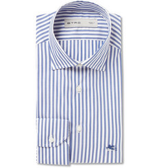 Etro Navy Slim-Fit Striped Cotton-Poplin Shirt