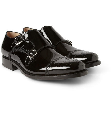 O'Keeffe Vernice Patent-Leather Monk-Strap Brogues
