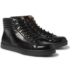Gianvito Rossi High-Shine Leather High-Top Sneakers
