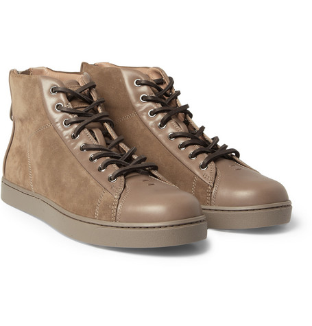 Gianvito Rossi Leather and Suede High-Top Sneakers