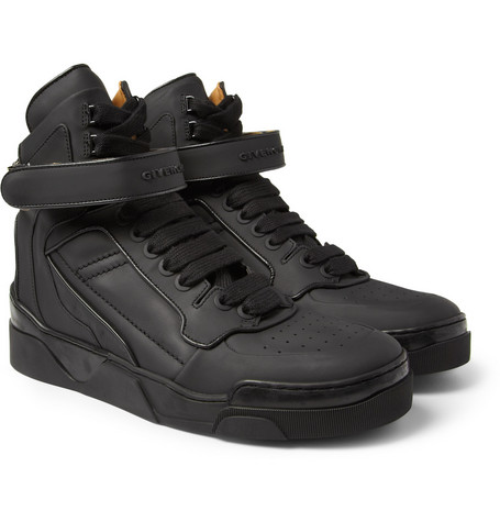 Givenchy Metal-Trimmed Leather High Top Sneakers
