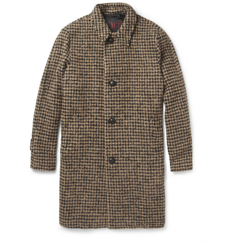 MP di Massimo Piombo Houndstooth Check Baby Alpaca-Blend Overcoat