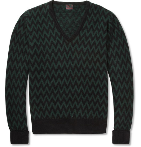 MP di Massimo Piombo Zip-Zag Wool and Cashmere-Blend Sweater