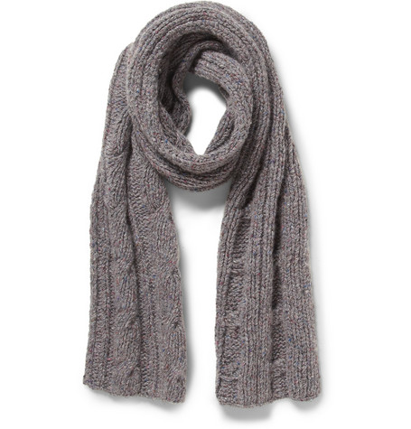 Loro Piana Flecked Cable-Knit Cashmere Scarf