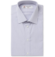 Turnbull & Asser Blue and White Slim-Fit Check Cotton Shirt