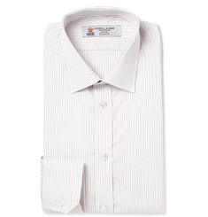 Turnbull & Asser White Slim-Fit Striped Cotton Shirt