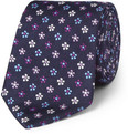 Turnbull & Asser Flower-Embroidered Silk Tie