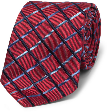 Turnbull & Asser Check Woven-Silk Tie