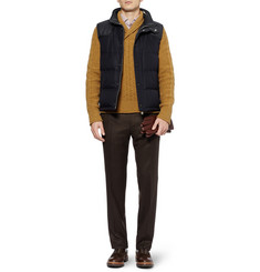 Brioni Leather-Trimmed Silk and Cashmere-Blend Quilted Gilet
